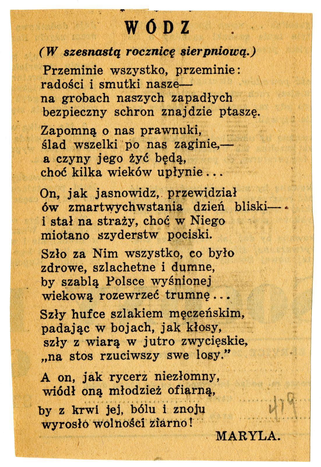 Wiersze O Józefie Piłsudskim